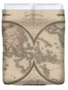 World Map Divided Into Two Hemispheres Duvet Cover