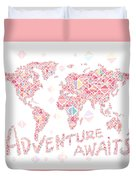 World Map Geometric Colorful Pink Duvet Cover