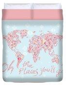 World Map Geometric Pink Mint  Duvet Cover