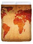 World Map Grunge Style Duvet Cover