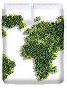 World Map Made Of Green Trees Duvet Cover