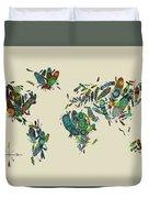 World Map Mandala Feathers 3 Duvet Cover
