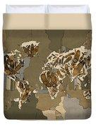 World Map Mandala Feathers 4 Duvet Cover