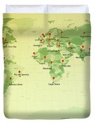 World Map Miller Cities Straight Pin Vintage Duvet Cover