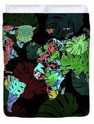 World Map Monstera Leaves  8 Duvet Cover