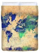 World Map Oceans And Continents Art Duvet Cover
