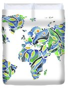 World Map Organic Green And Blue Duvet Cover