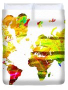 World Map Painted Duvet Cover