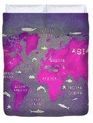 World Map Pink Duvet Cover
