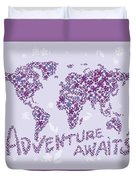 World Map Purple Lavender Floral Pattern Duvet Cover