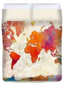 World Map - Rainbow Passion - Abstract - Digital Painting 2 Duvet Cover
