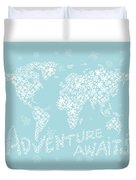 World Map White Flowers Aqua Blue Duvet Cover