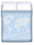 World Map White Star Pastel Blue Duvet Cover