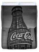 World Of Coca Cola Bw Duvet Cover