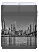 World Trade Center And The Brooklyn Bridge Bw Duvet Cover