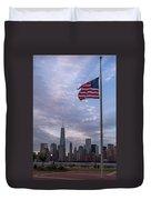 World Trade Center Freedom Tower New York City American Flag Duvet Cover