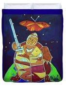 World Turtle King Of Swords Duvet Cover