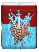 World Turtle Three Of Swords Duvet Cover