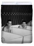 World War II Bath Time For Guys Duvet Cover