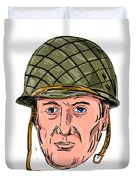 World War Two American Soldier Head Drawing Duvet Cover