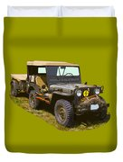 World War Two Army Jeep With Trailer  Duvet Cover