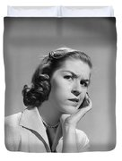 Worried Woman, C.1950-60s Duvet Cover