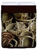 Woven Baskets For Sale At A Market Duvet Cover