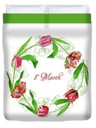 Wreath With Tulips Duvet Cover