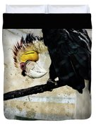 Wreathed Hornbill Perching Against Vintage Concrete Wall Backgro Duvet Cover