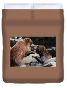 Wrestling Grizzly Bears In A Shallow River Duvet Cover