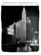Wrigley And Tribune Buildings Duvet Cover