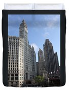 Wrigley And Tribune Tower Duvet Cover