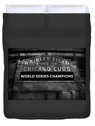 Wrigley Field Sign -- Bw Duvet Cover
