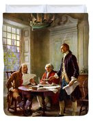 Writing The Declaration Of Independence Duvet Cover by War Is Hell Store