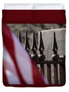 Wrought Iron And American Flag Duvet Cover