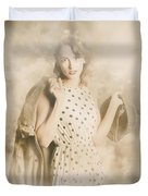 Wwii Tour Of Duty Pin-up Woman Duvet Cover