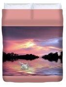 Sunset Swans Duvet Cover