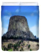 Wyoming Devils Tower With 8 Climbers August 7th 12 36pm 2016 With Inserts Duvet Cover