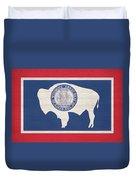 Wyoming Rustic Flag On Wood Duvet Cover