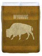 Wyoming State Facts Minimalist Movie Poster Art Duvet Cover
