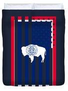 Wyoming State Flag Graphic Usa Styling Duvet Cover