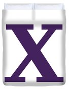 X In Purple Typewriter Style Duvet Cover