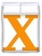 X In Tangerine Typewriter Style Duvet Cover