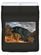 Y Mountain Above Provo Utah At Sunset Duvet Cover