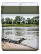 Yacare Caiman On Beach With Passing Boat Duvet Cover