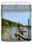 Yacht Harbor On The River. Film Effect Duvet Cover