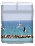 yacht sailing in the Mediterranean sea Duvet Cover