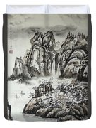 Yangze River With Water Fall Duvet Cover