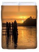 Yaquina Bay Sunset - Vertical Duvet Cover
