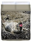 Yawning Harbor Seal - Oregon Coast Duvet Cover
